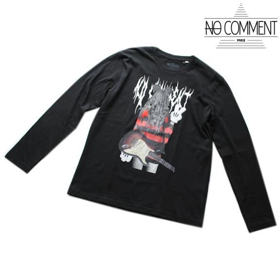 NO COMMENT PARIS ノーコメント パリ Tシャツ 長袖 クルーネック ロンT メンズ 正規販売店 LTN212 ブラック