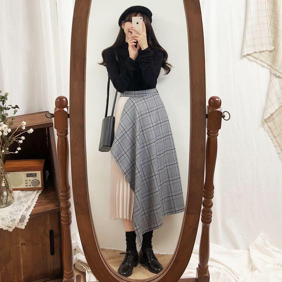 【送料無料】レトロコーデ ♡ 大人可愛い ガーリー 異素材 チェック柄 プリーツ アシンメトリー ロング スカート