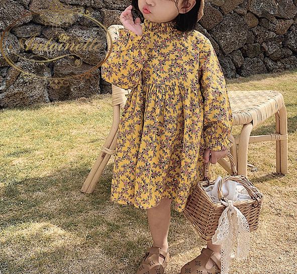小花柄 長袖 ワンピース 子供服 おんなのこ イエロー 長袖 薄手