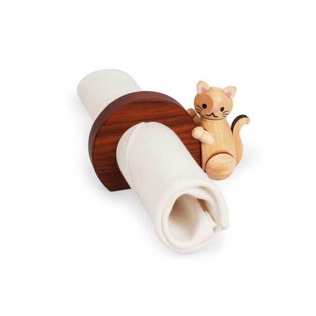 木製 猫のナプキンリング A