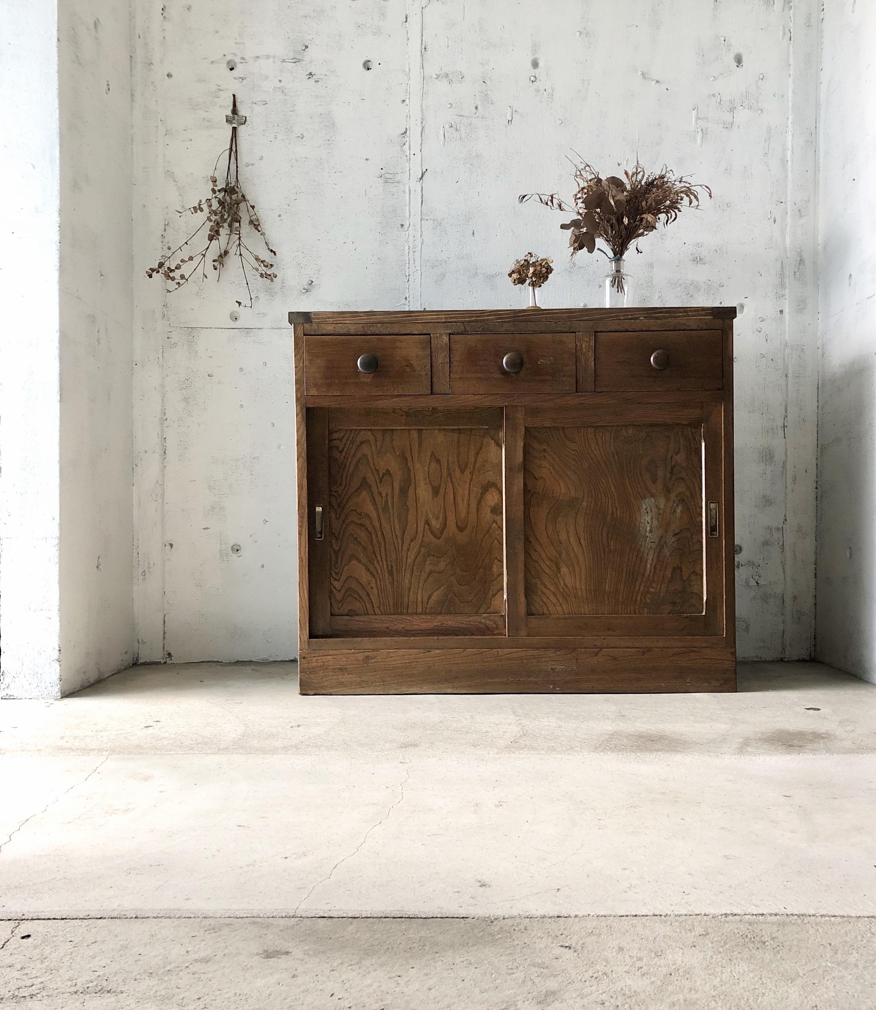 引き戸のカウンターシェルフ[古家具]