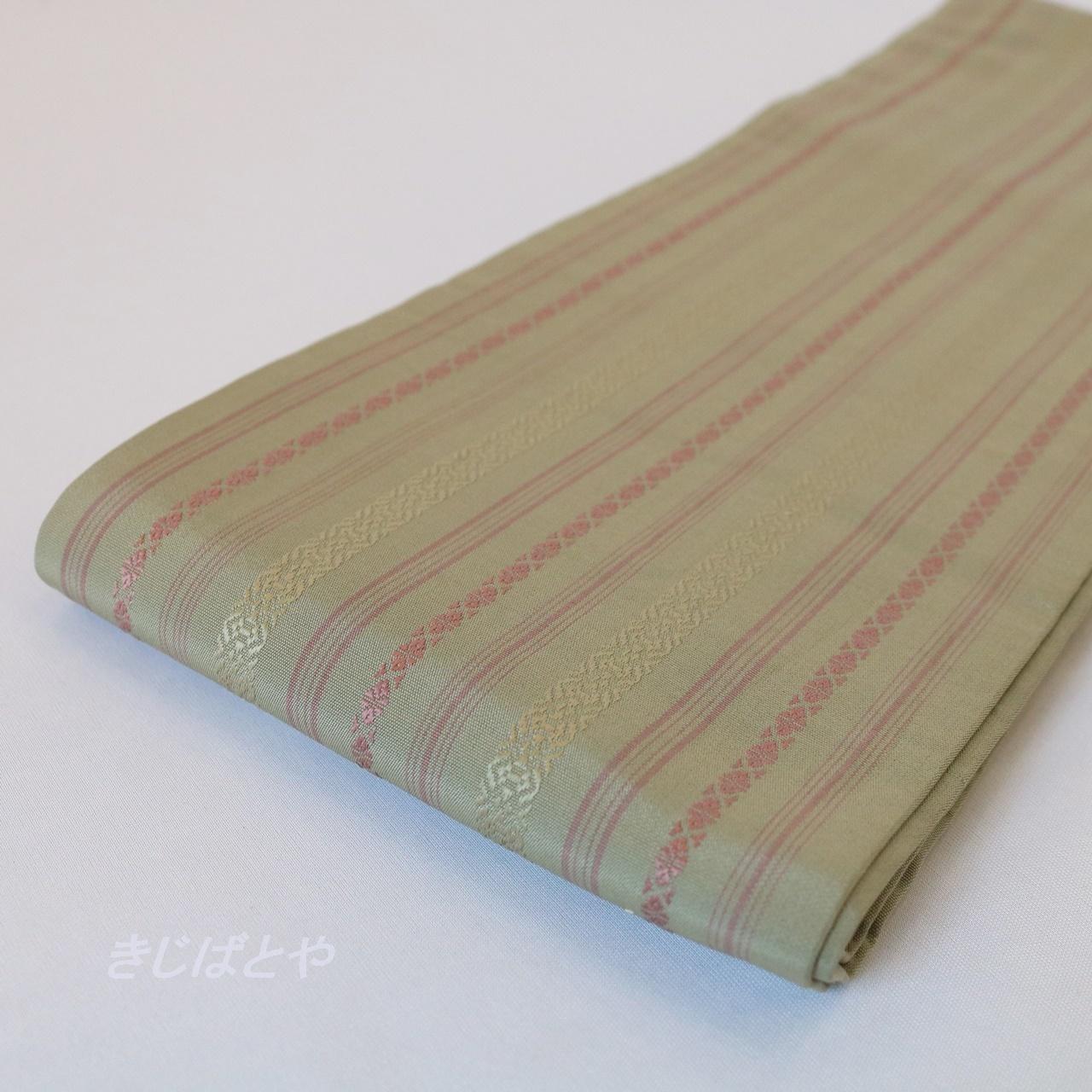 正絹 柳葉色の博多半幅帯