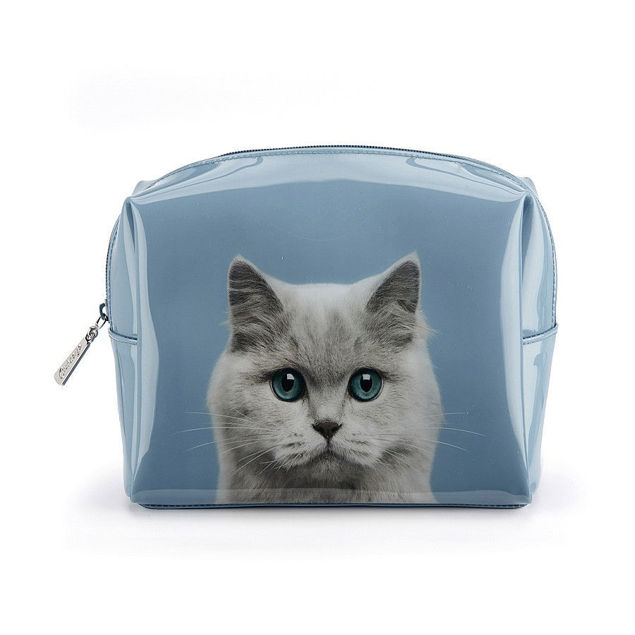 Cat on Blue Large Beauty Bag_CAB3W