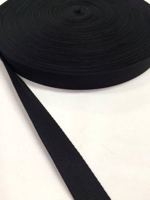 ナイロン 杉綾織(綾テープ) 20mm幅 黒 1mカット