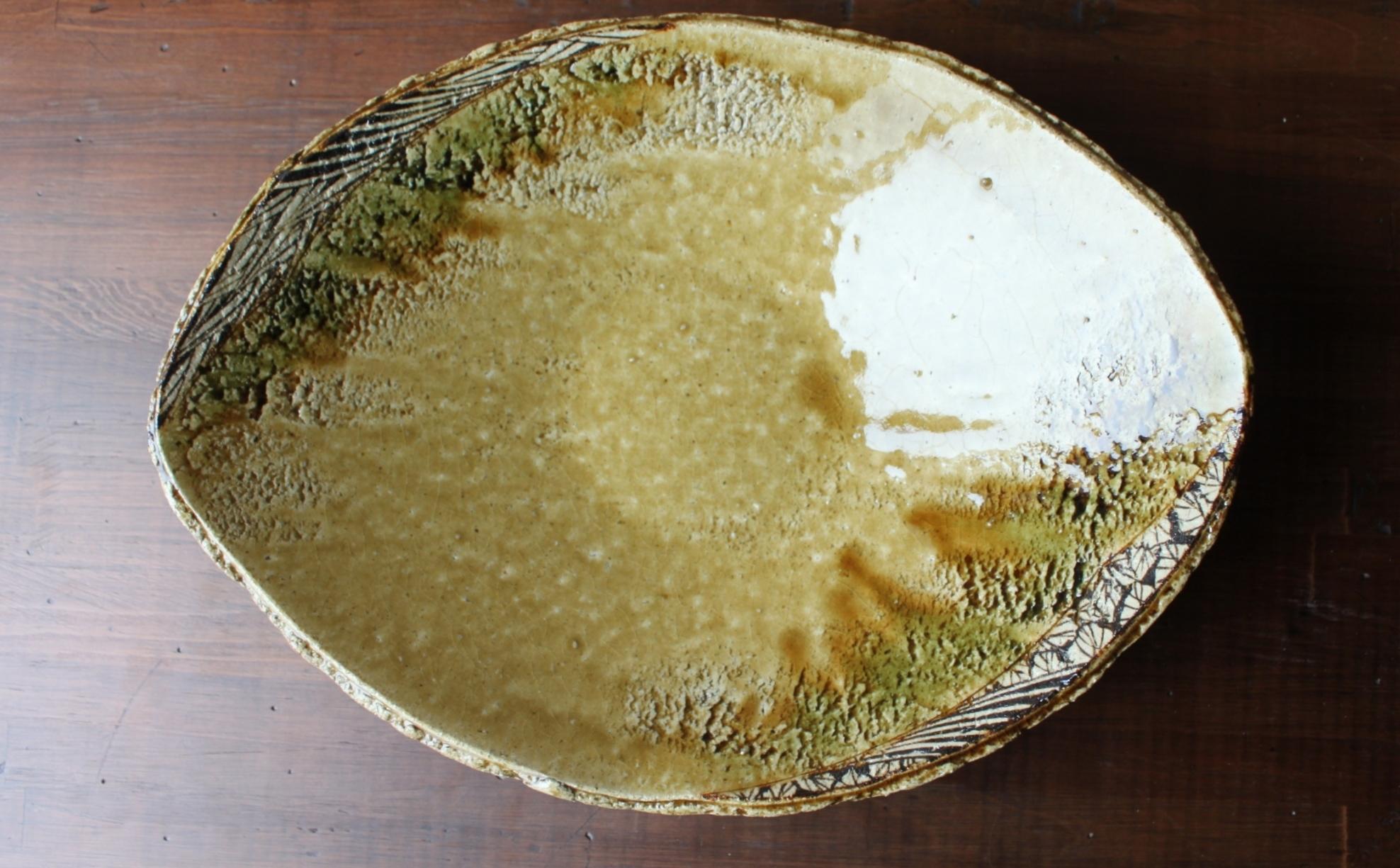 黄瀬戸楕円大鉢