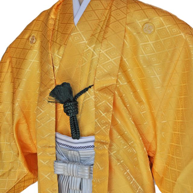 レンタル男性用【紋付袴】黄色着物羽織と白銀ぼかしの袴フルセットyellow1[往復送料無料] - 画像1