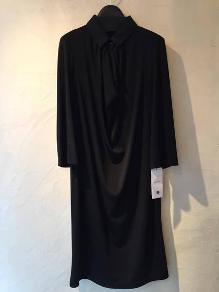 【お呼ばれワンピース特集】ジャージー素材 襟変化七分袖ワンピース ブラック