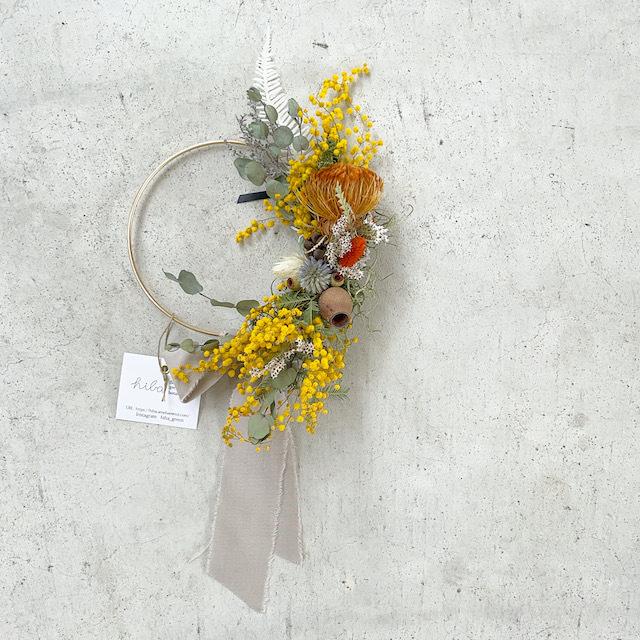 "hiba ""mimosa arranged wreath"""