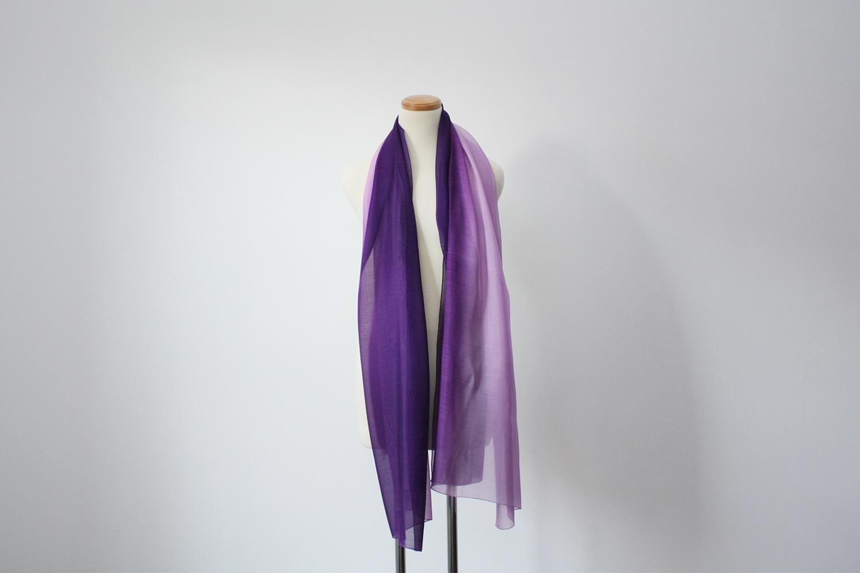 絹ショール 紫×薄紫