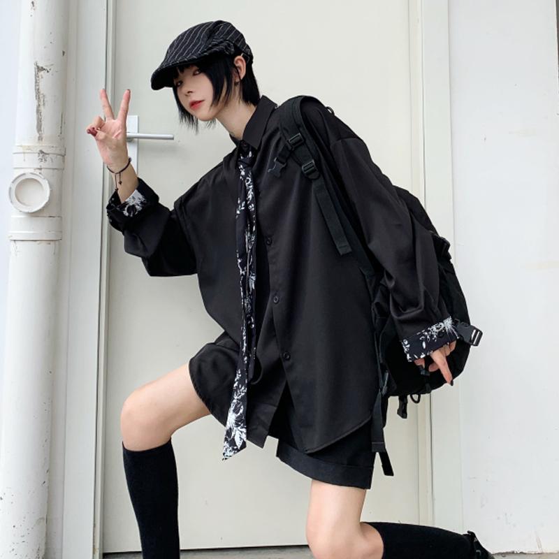 【tops】ストリート系無地切り替えシャツ22875360