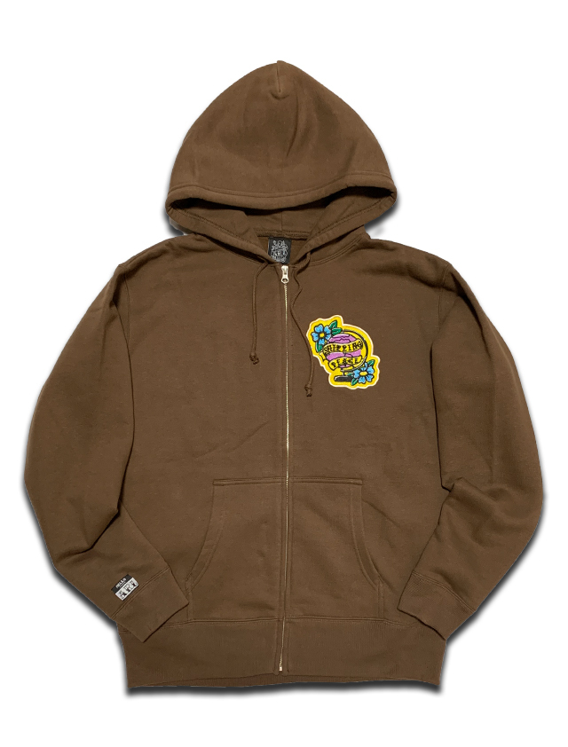 PEACE PATCH ZIP HOODIE brown
