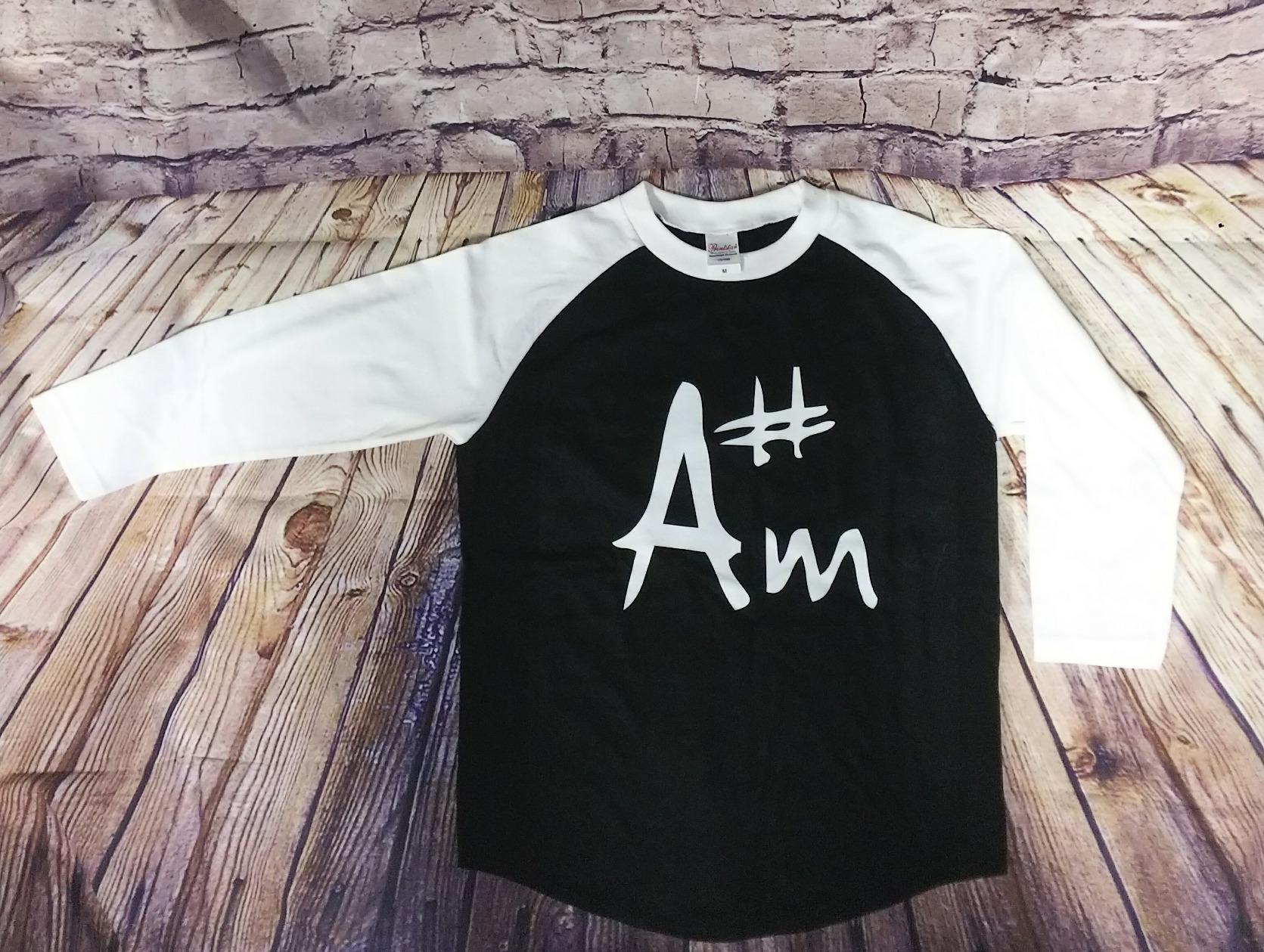 A♯m ラグランシャツ(白袖)