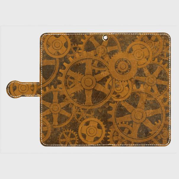 歯車スチームパンク(茶)/Androidスマホケース(手帳型ケース)