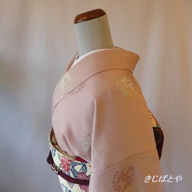 正絹 灰桜色に華文の小紋 袷