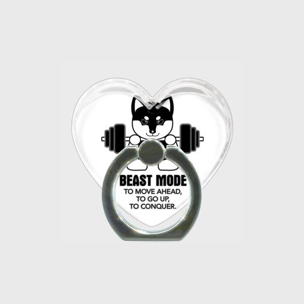 【BEASTMODE】ハート型 スマホリング モノクロシリーズ 柴犬