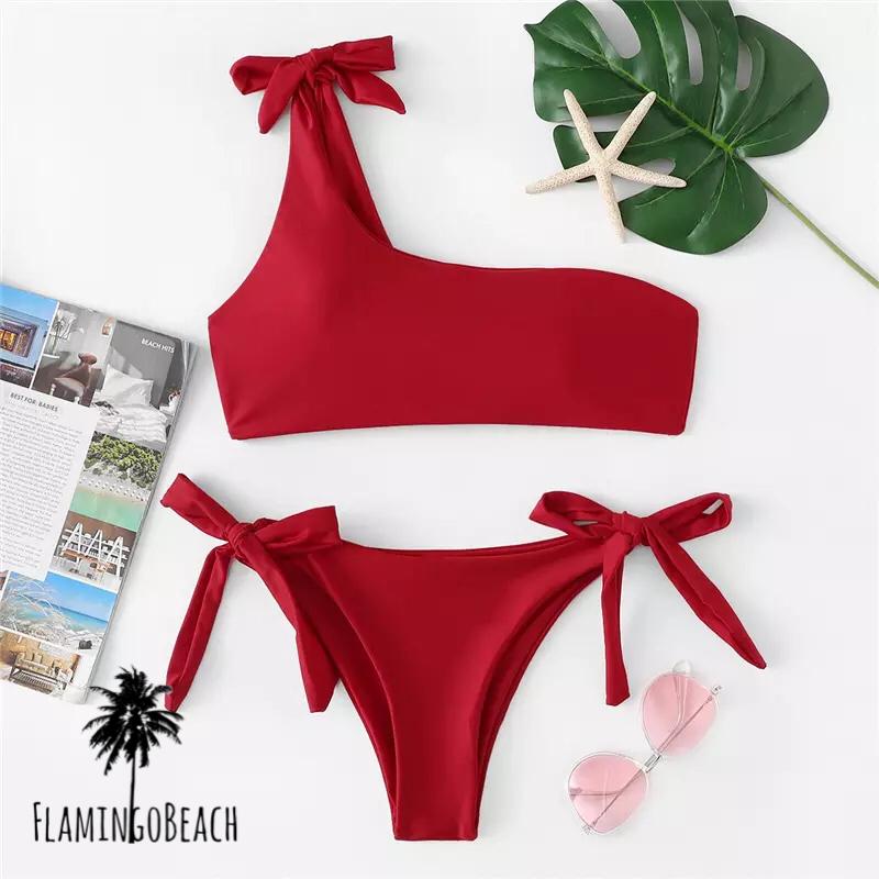 【FlamingoBeach】red obe shoulder bikini ワンショルダービキニ