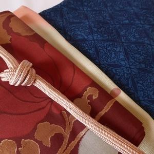 正絹 臙脂に花の袋帯