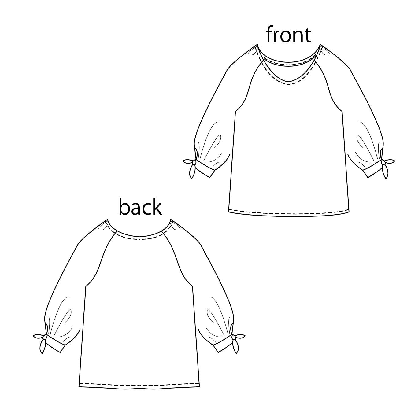 D002  ラグランブラウスの製図PDF