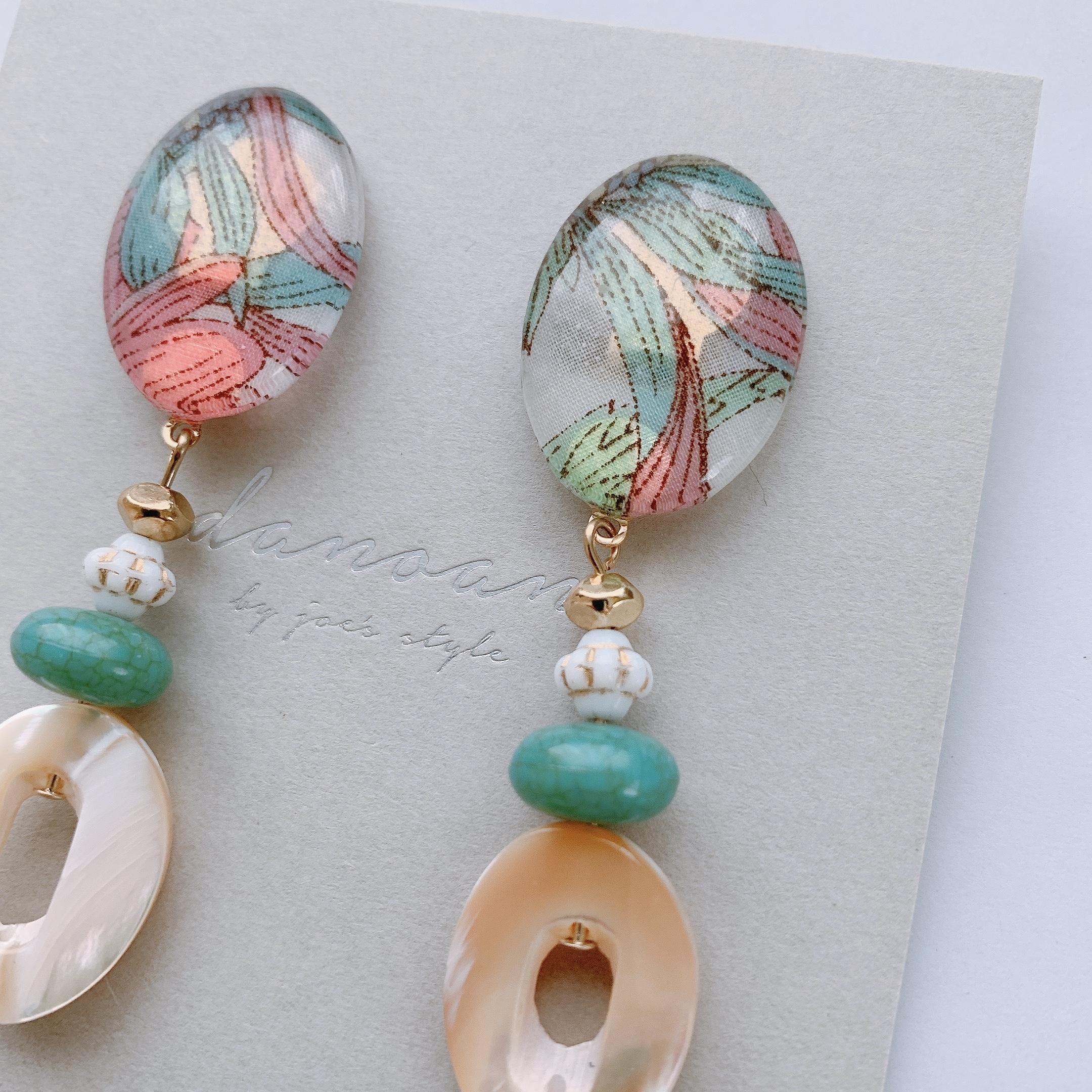 """"""" Earrings NO.danoan-1-1847″リバティ×シェルビーズ"""