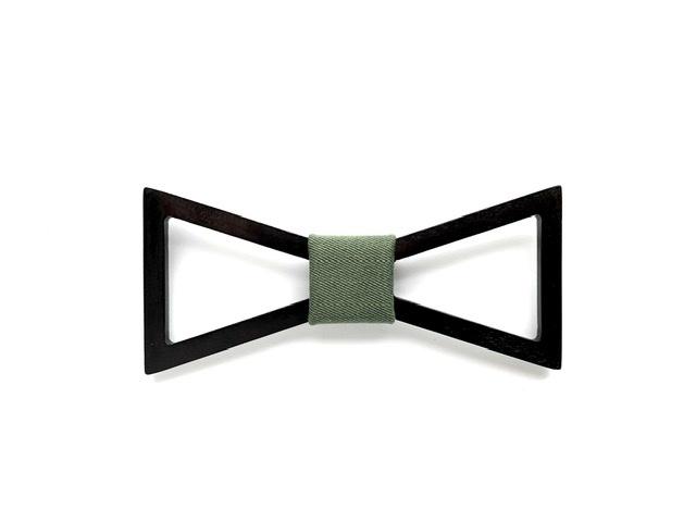 木製 蝶ネクタイ #Triangle moss green - 画像1