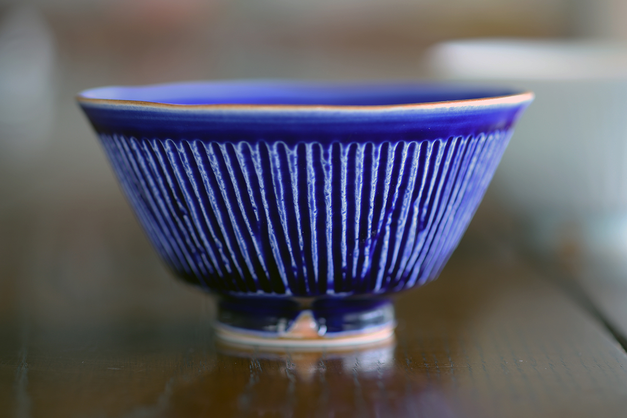 瑠璃釉しのぎ 手造り飯碗 作:陶工房楽(波佐見焼)