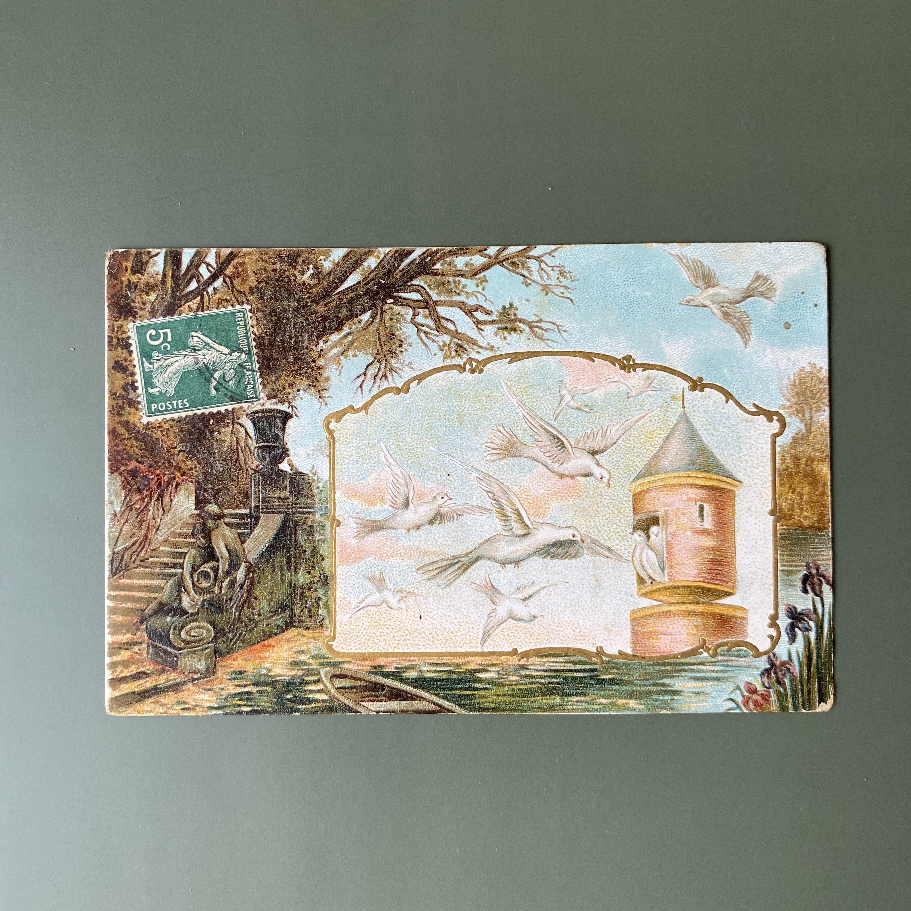 アンティーク鳩のポストカード a /  vp0178