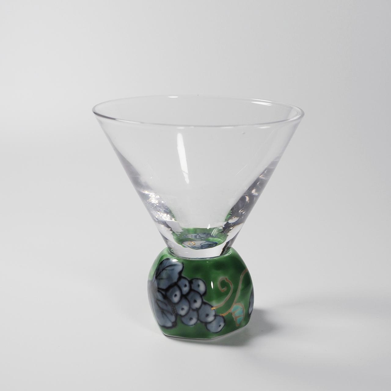 酒グラス(六角) 染錦グリーン 20-001-C