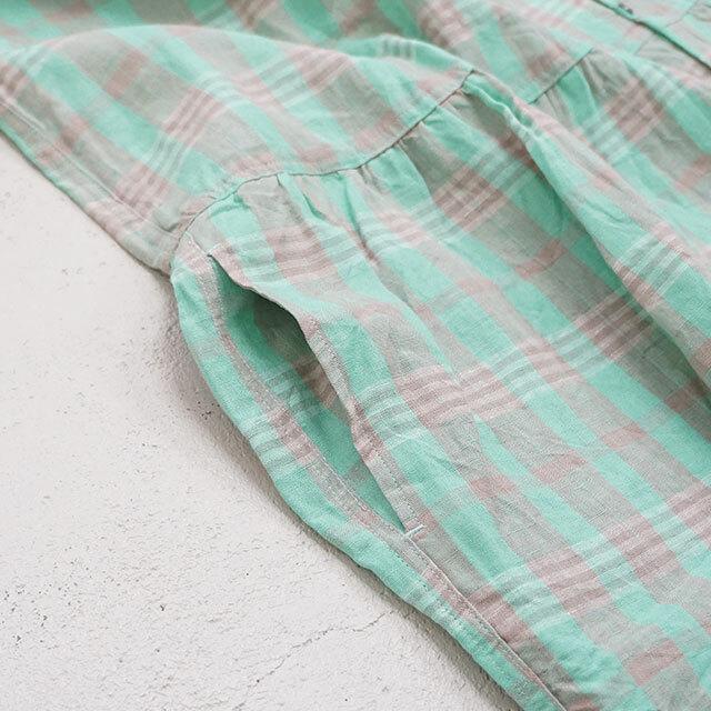 ICHIAntiquites イチアンティークス LINEN CHECK DRESS リネンチェックシャツワンピース (品番500304)