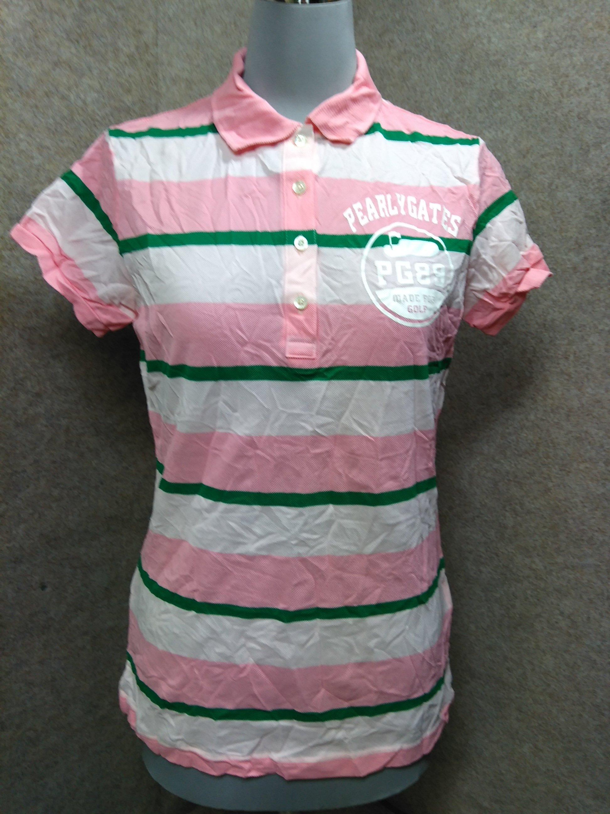 パーリーゲイツ ゴルフ ポロシャツ 1 ピンク ボーダー mu922e