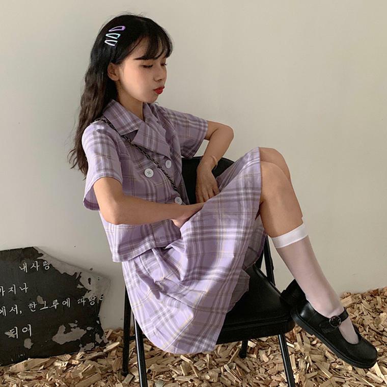 【送料無料】 チェックコーデ セットアップ♡ ダブルボタン ジャケット & プリーツスカート ミニ丈 レトロ