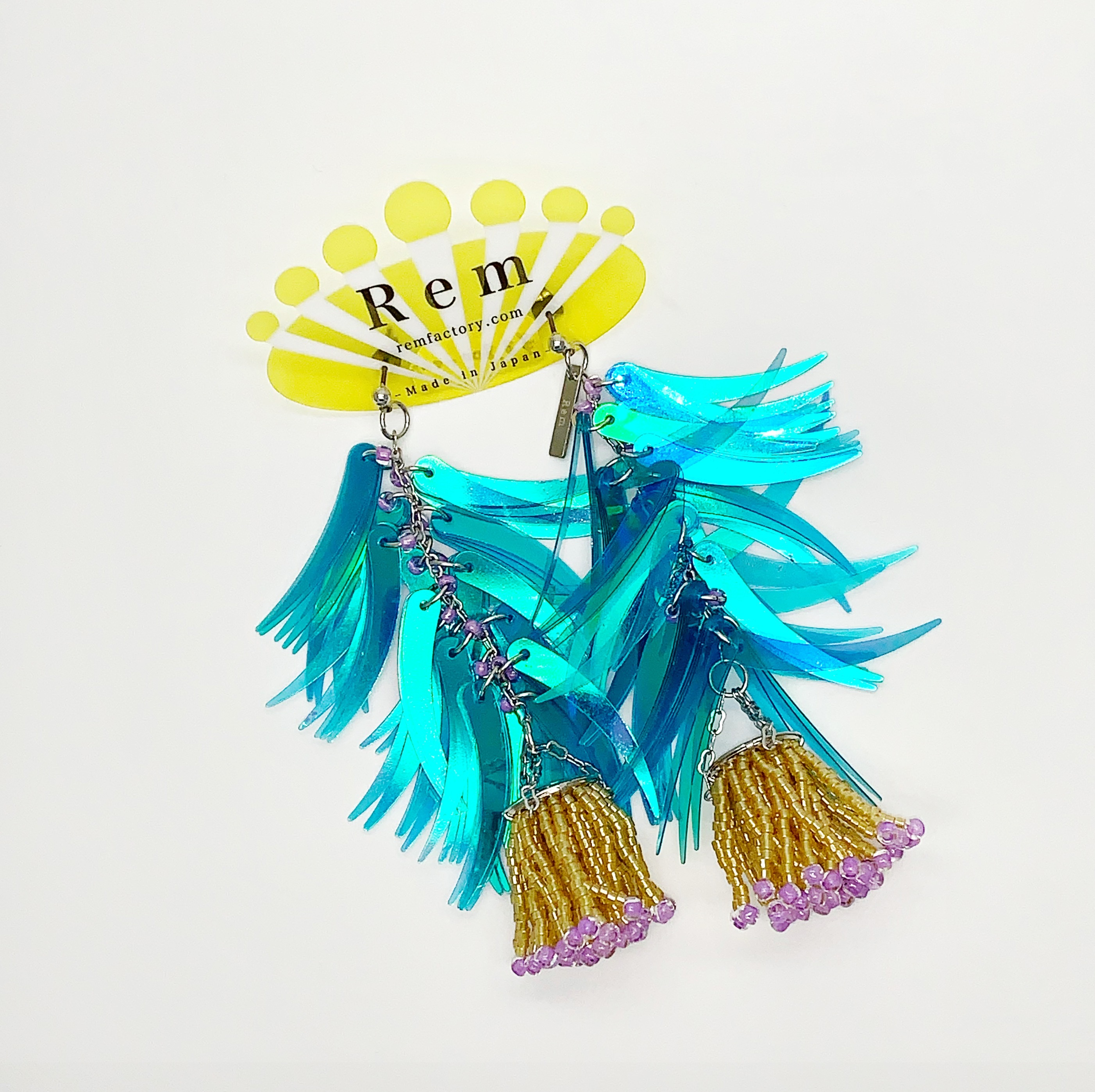 Rem つぼみ耳飾りブルー ピアス