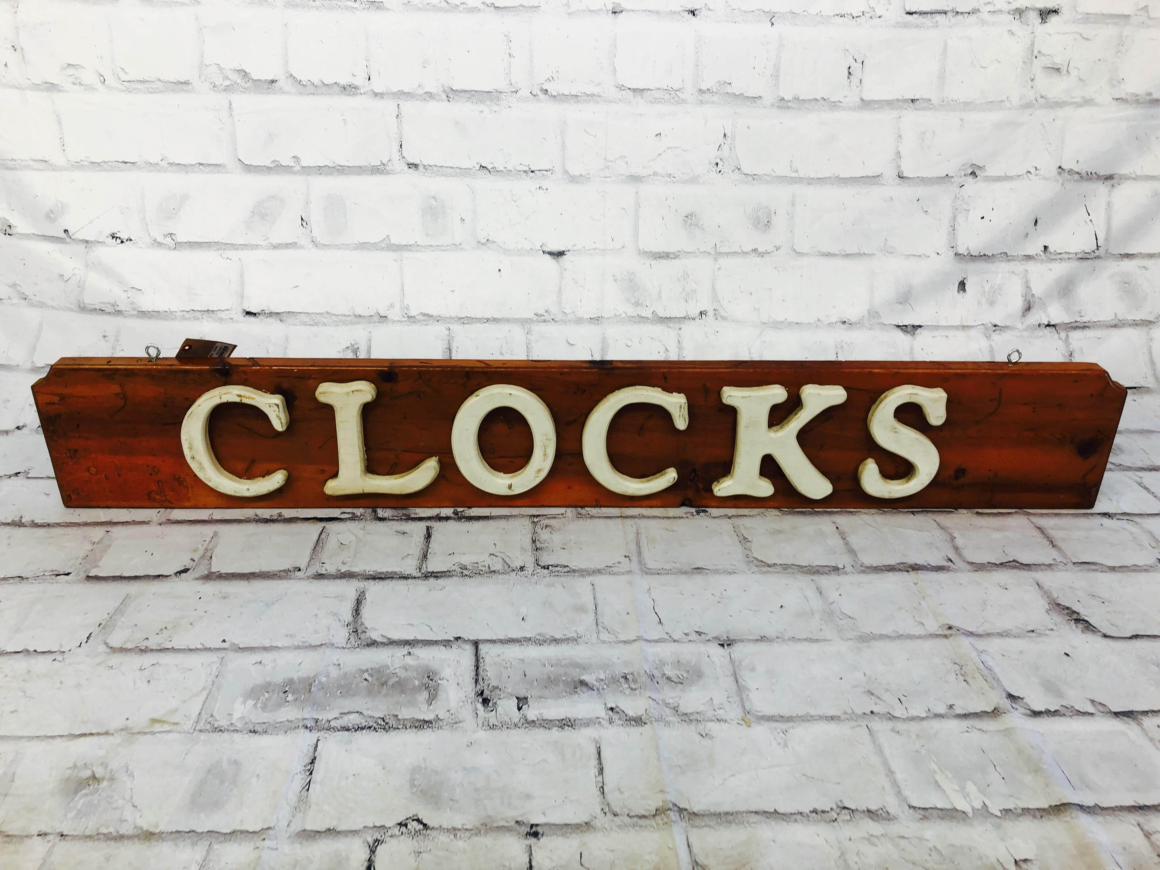 品番2055 サインボード 『CLOCKS』 木製 壁掛 看板 アメリカン雑貨 ヴィンテージ
