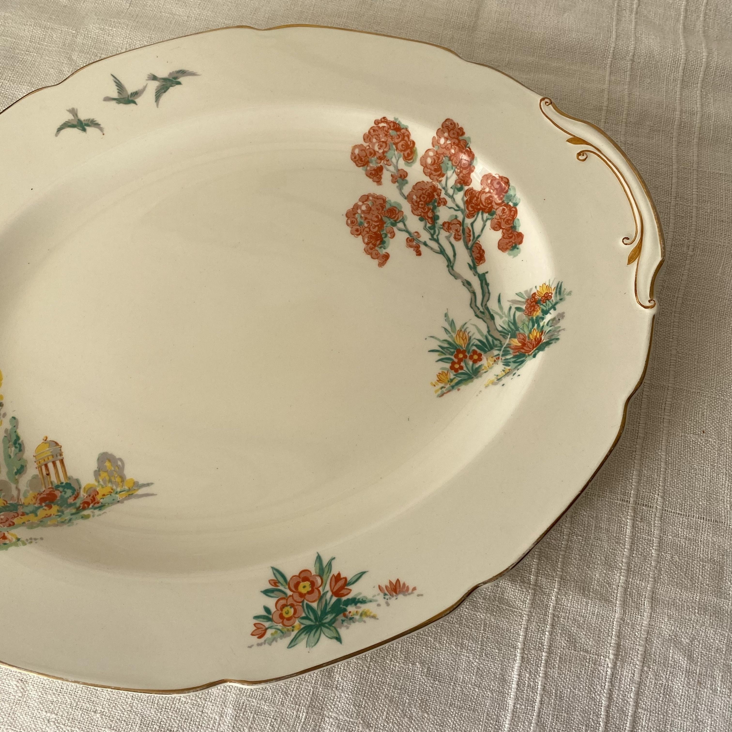 花と鳥のオーバル皿