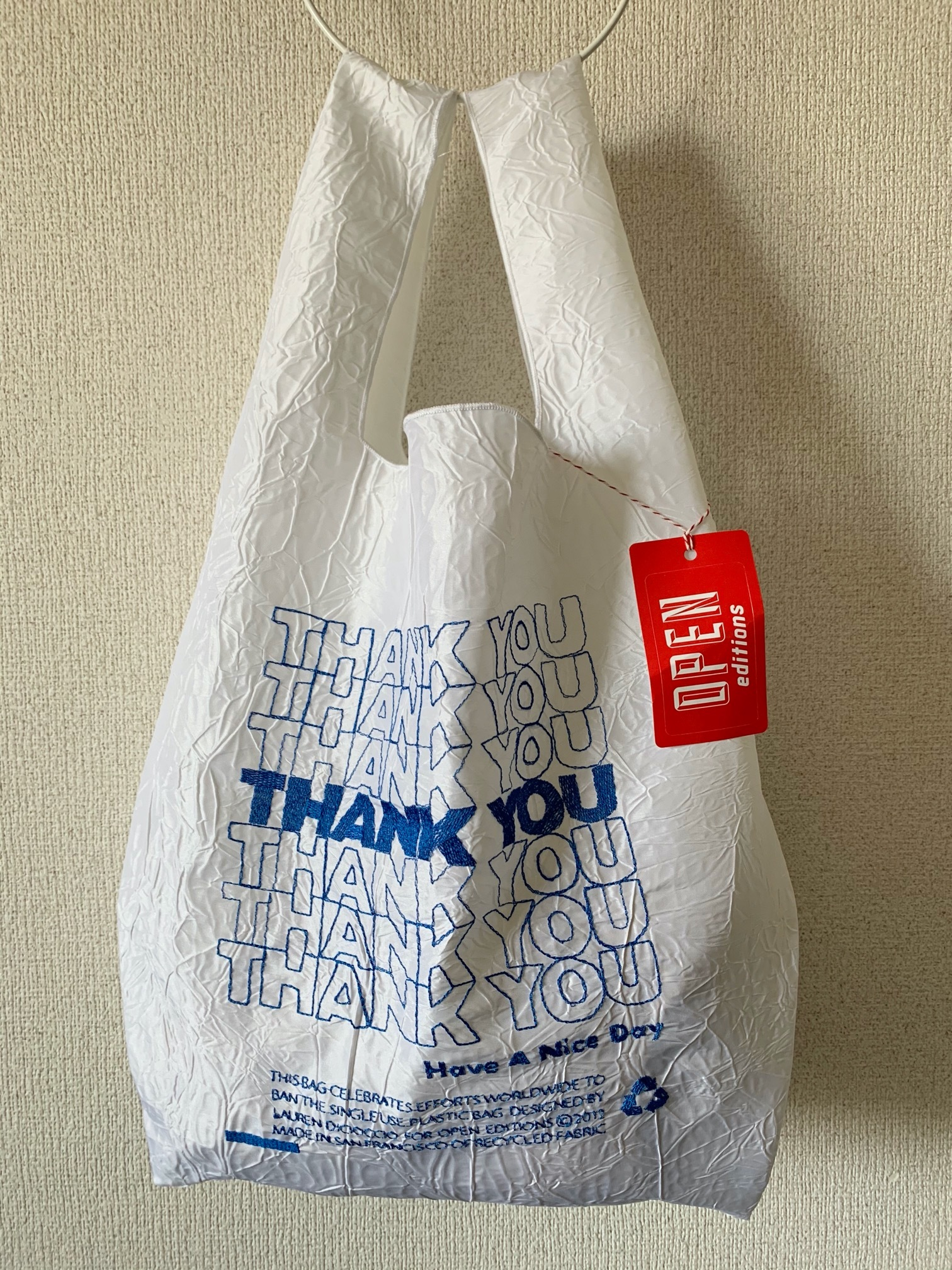 【OPEN EDITIONS】THANK YOU TOTE エコバッグ/ THANK YOU Blue