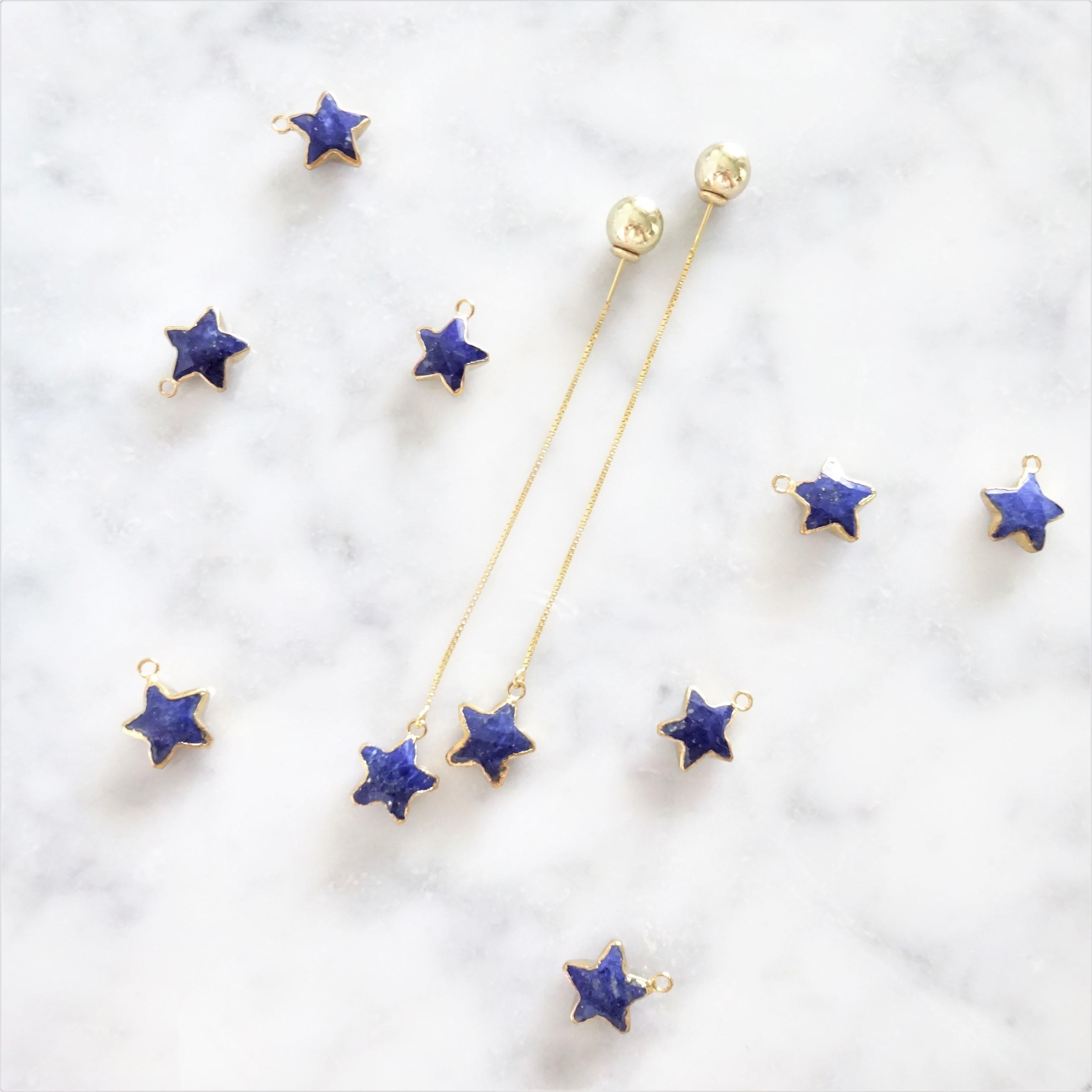 送料無料14kgf*Lapis lazuli STAR american pierced earring