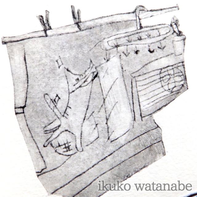 版画カード - 猫・お洗濯 - わたなべいくこ - no9-wat-10
