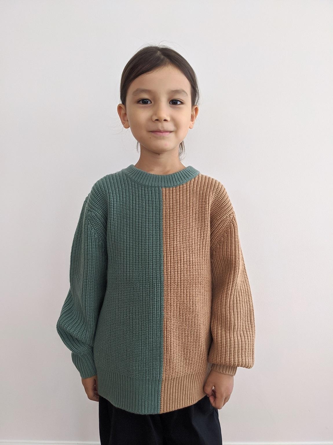 Kids Bicolor Knit Top - Seiji/Tan