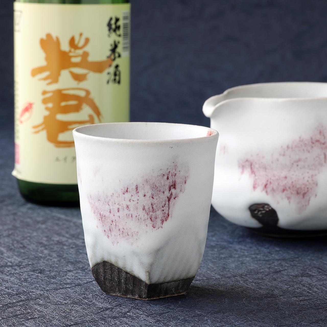 雪中華 面取り冷酒グラス 作:谷井芳山・谷寛窯(信楽焼)