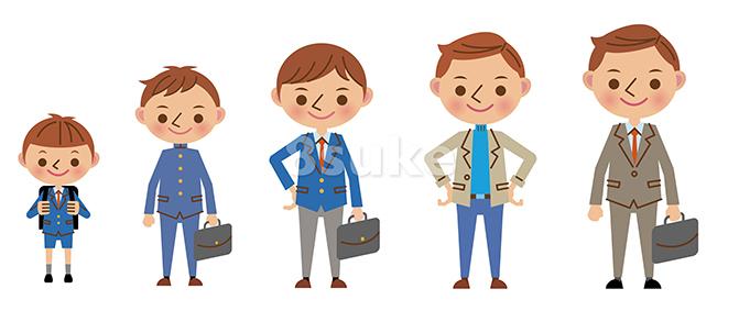 イラスト素材:男性の成長・世代イメージ(ベクター・JPG)