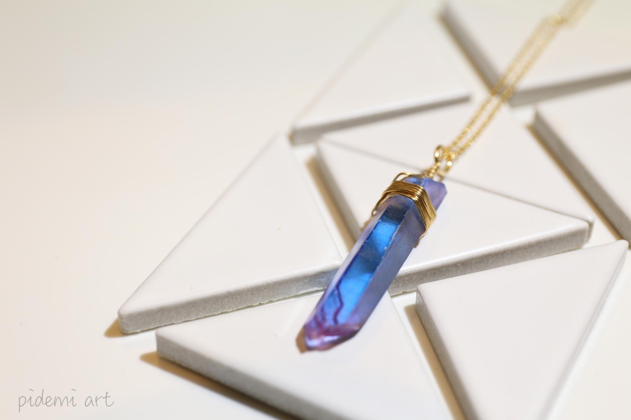 天然石のポイント水晶クリスタルネックレス【スカイブルー】