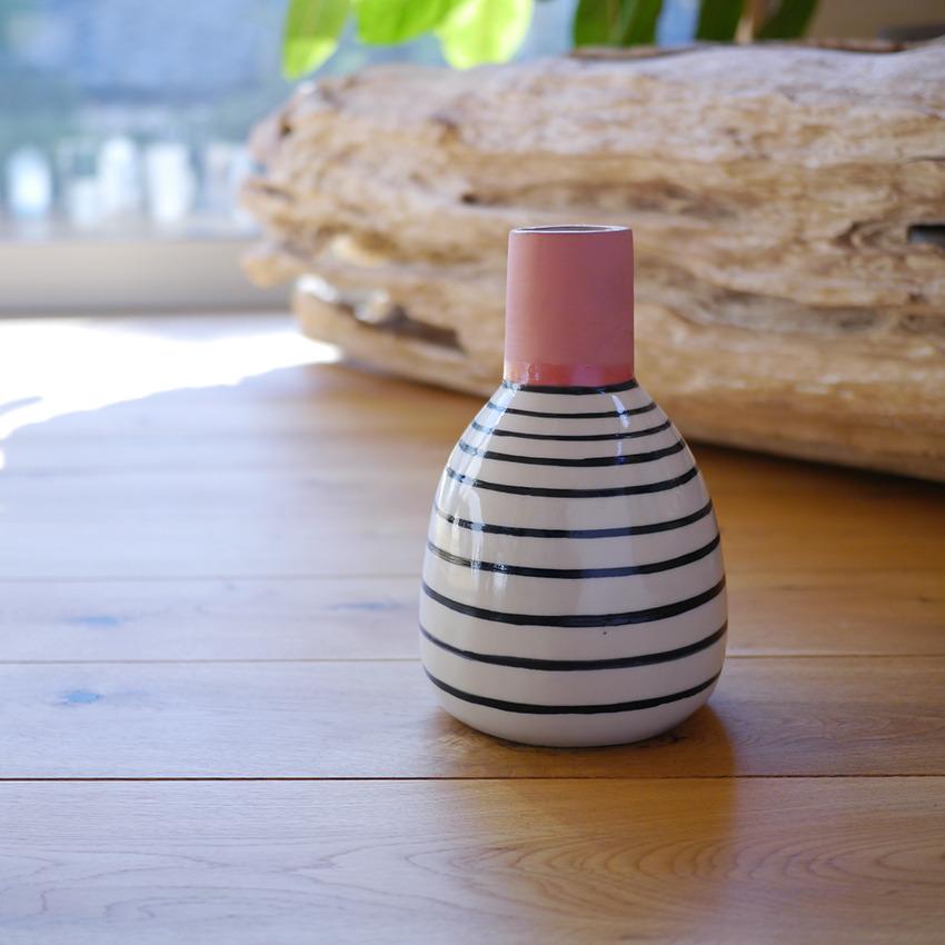 陶器 ボーダーラウンド ピンク