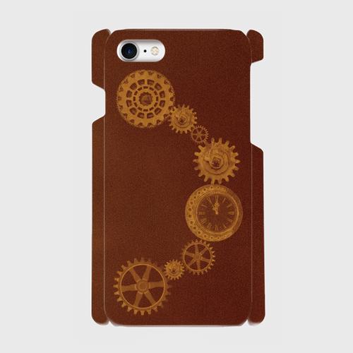 スチームパンク/歯車〜時計(赤茶)/iPhoneスマホケース(ハードケース)