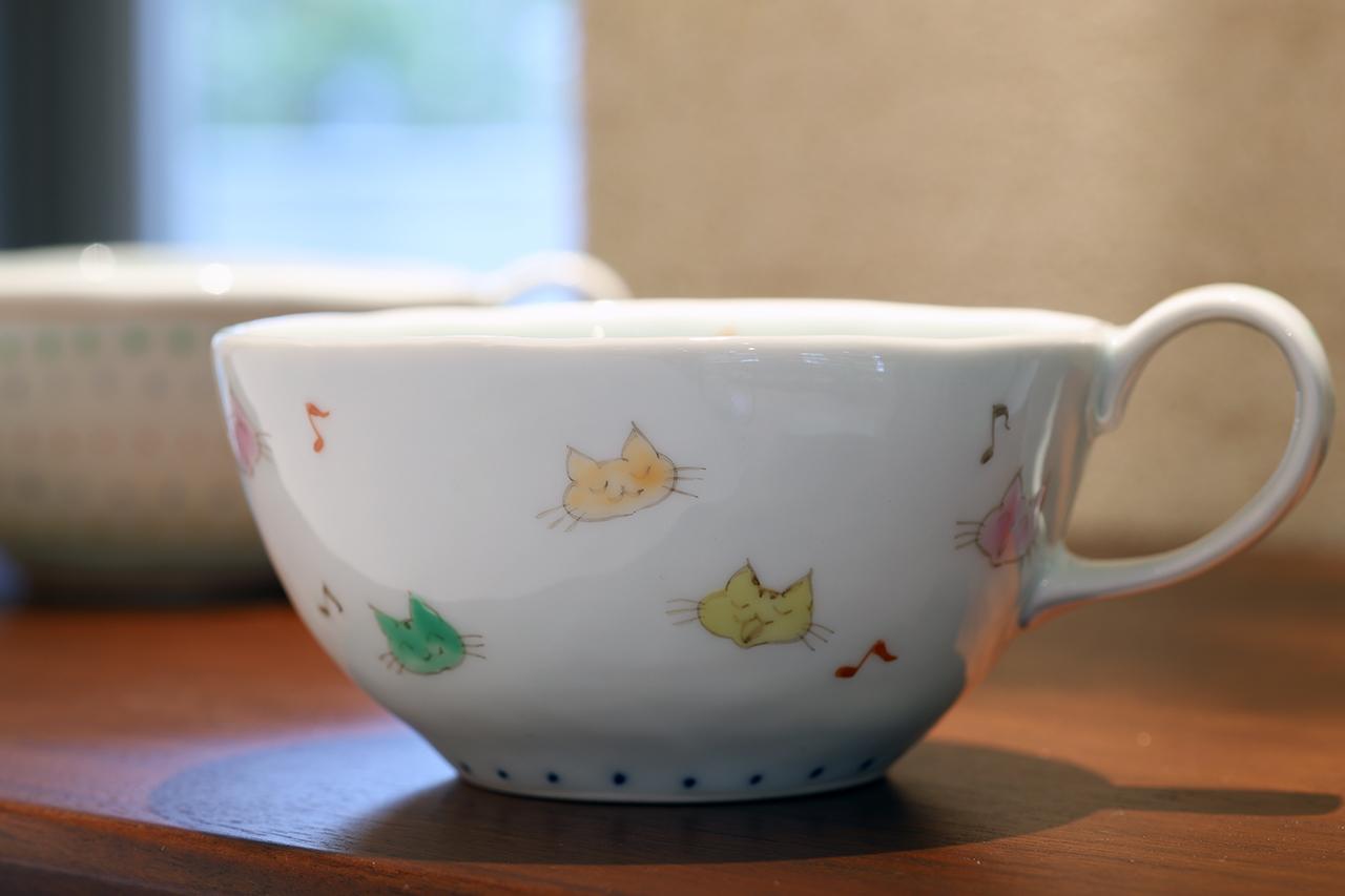 藍水 猫 カフェボール うつわ藍水(波佐見焼)