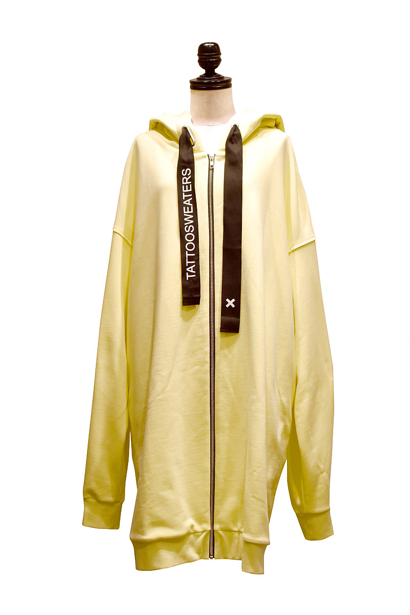 TATTOOSWEATERS / LONG ZIPPED HOODIE FREE OF TATOO / Yellow