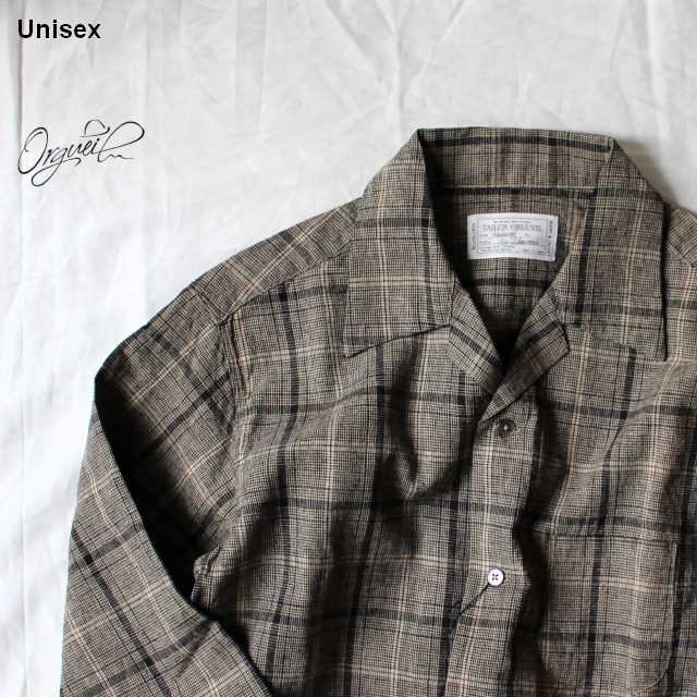 Orgueil オープンカラーチェックシャツ Open Collared Shirt   OR-5036A (Beige Check)