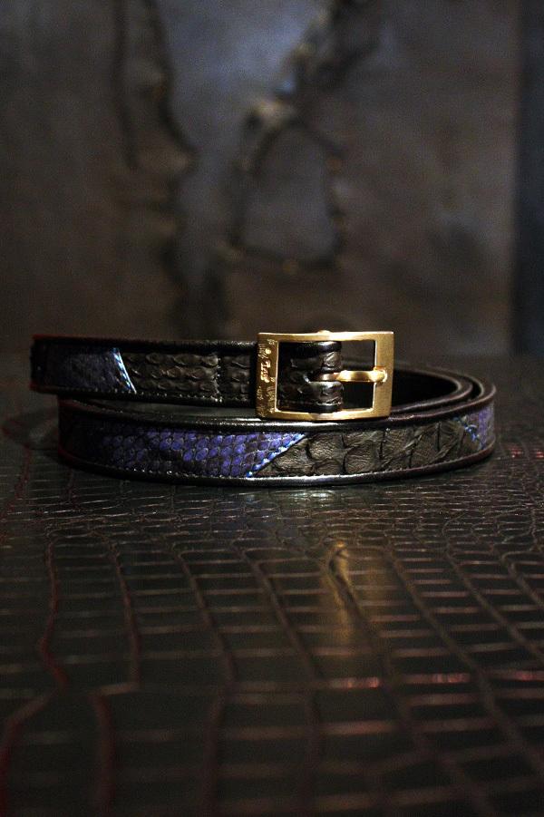 Item No.0057:Rizard Head×Bill Wall Leather SAMURAI Collection Limited Nallow Belt Blue  [RONIN]-牢人 【World Ltd 50pcs】