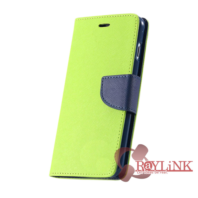 【スマホケース】Floveme iPhone7用二つ折りレザーケース 緑x黒