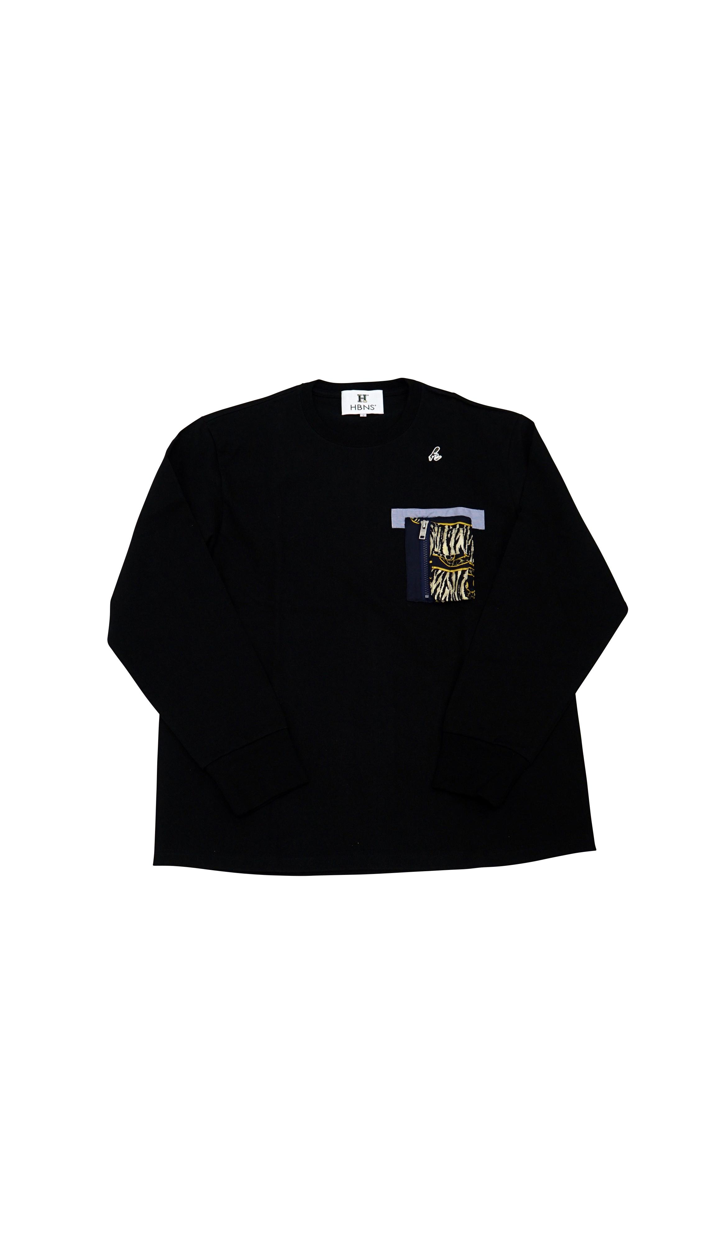 VINTAGE SCALF- POCKET L/SL Tee (BLACK  L)