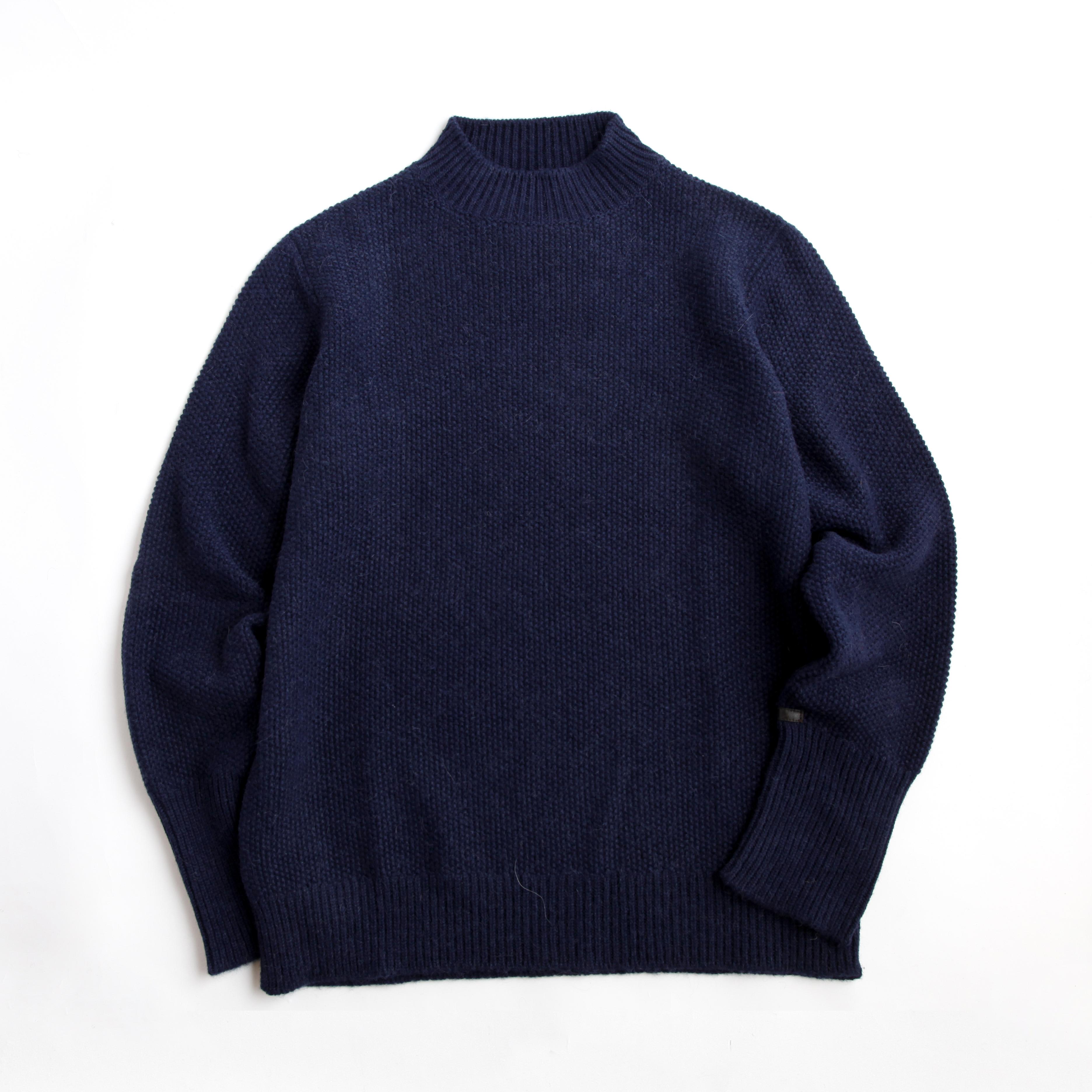 THE INOUE BROTHERS/Low Gauge/Mock Neck Sweater/Navy