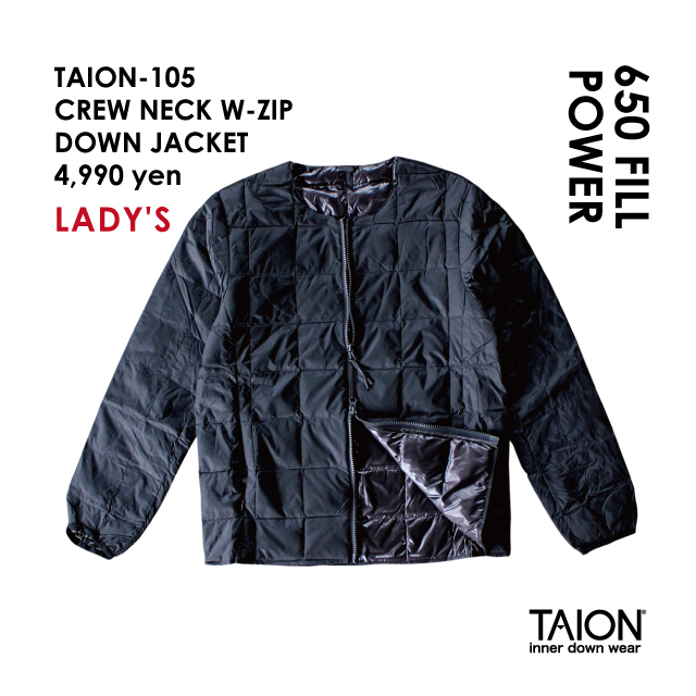 Ladies' / TAION-105 CREW NECK W-ZIP DOWN JACKET / Black / 2018